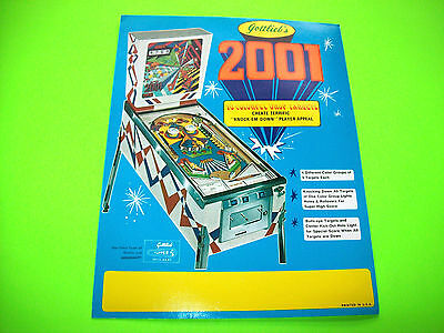 Gottlieb 2001 Original 1971 Flipper Game Pinball Machine Promo Sales Flyer Nice
