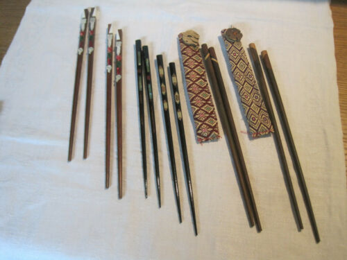 6 pairs  decorative chopsticks, 2 lacquered chopsticks, 4 others decorated wood