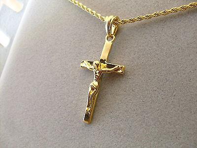 Collana Ciondolo Oro Giallo Croce con cristo Crocifisso Unisex Uomo Donna
