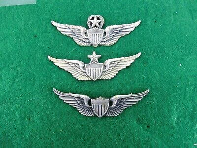 WWII US ARMY AVIATOR PILOT BADGE SET - SOME STERLING - No -