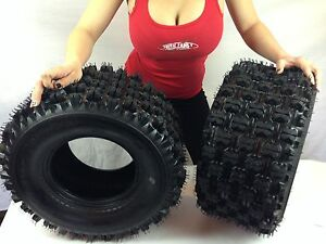 HONDA-400EX-COMPLETE-SET-2x-20X10-9-Sport-Quadboss-Rear-ATV-TIRES