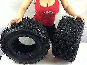 HONDA 400EX COMPLETE SET  (2x) 20X10-9 Sport Quadboss Rear ATV TIRES