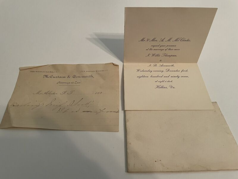 NATIVE AMERICAN CHOCTAW WEDDING INVITATION N.B. AINSWORTH MCALESTER INDIAN TERRI