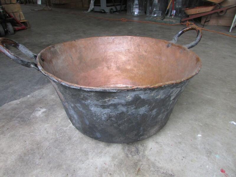 Antique Large Mexican Copper Bowl-Old Cazo-Rustic-Primitive-25Wx12D-HUGE-Beauty