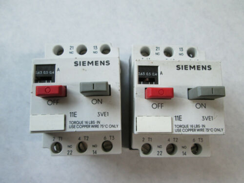 Lot of 2 Siemens 3VE1010-2E Overload Relays (0.4 to 0.63 Amp)