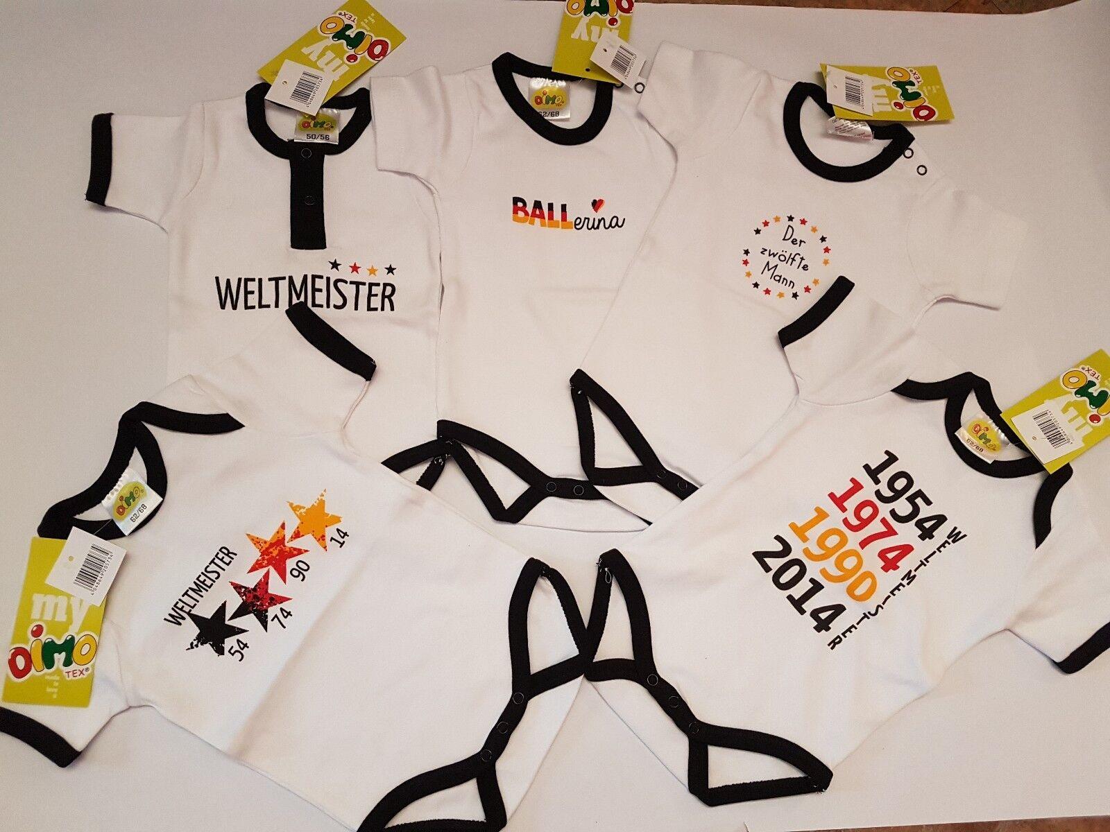 Dimo Tex Baby Body Mädchen + Jungen Neu Gr. 50 - 92 Fußball Weltmeister