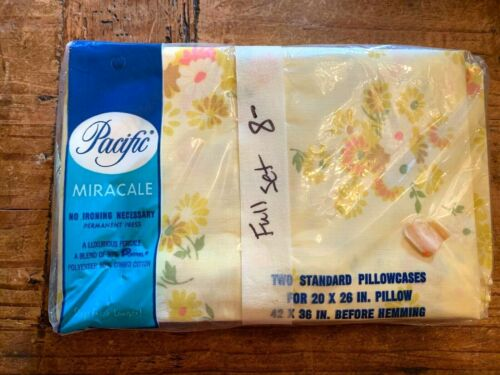 Vintage Pacific Miracale Yellow Floral Standard Pillowcases - Unopened