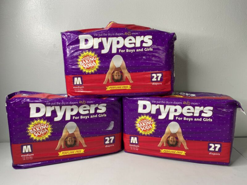 3 Packs 1996 Drypers Diapers w/ Natural Baking Soda Size 12-24 Lbs 27/81 Total