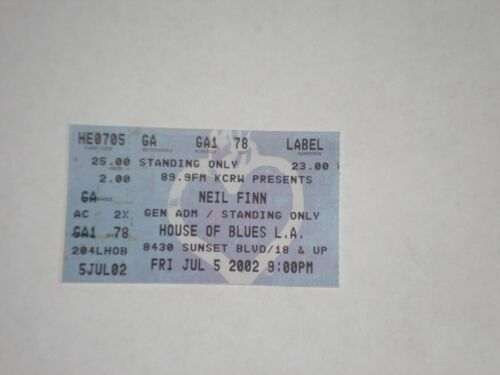 Neil Finn Crowded House Ticket Stub-2002-House Of Blues-Los Angeles,CA