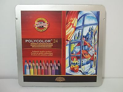 Koh-I-Noor Polycolor 24 Artist's Colored Pencils in Metal Tin BRAND NEW!!