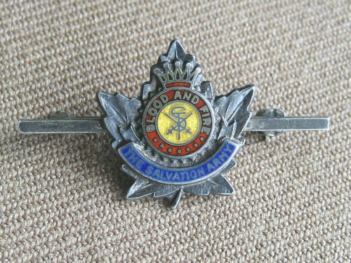 Vintage The Salvation Army Blood And Fire Enamel Pin Badge Top Sterling 302X