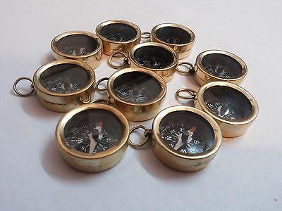 "Brass Compass 1 "" Lot Of 10 Pcs Marine Vintage Collectible Decorative"