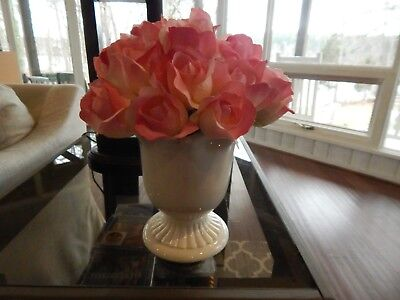PRETTY PINK 28 Rose Artificial Bouquet in white ceramic vase PERFECT MOTHERS DAY