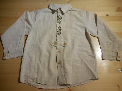 Jungen Leinen Hemd (Trachtenhemd Jungen, 122/128, Baumwolle, Leinen, Stickerei, Bayern, Volksfest)