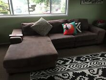 Brown 3 Seater Fabric Couch with Chaise Coopers Plains Brisbane South West Preview