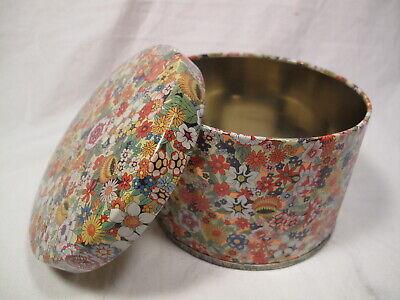 "Vintage 4"" Flower Tin Container - Hippie - Gold Tin - Made In England - round"