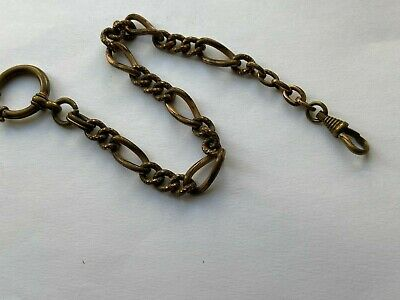 VINTAGE Old Rare Chain Pocket Watch RRR UNIQUE MILITARY GOLD PLATED WW2 SWISS