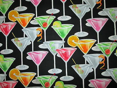 Martini Cocktail Glasses Glitter Orange Garnishes Black Cotton Fabric FQ - Orange Martini Glasses