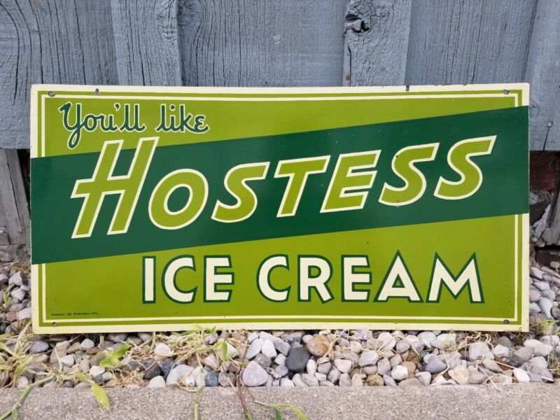 "Rare Vintage Hostess Ice Cream Soda Fountain 20"" Metal Sign"
