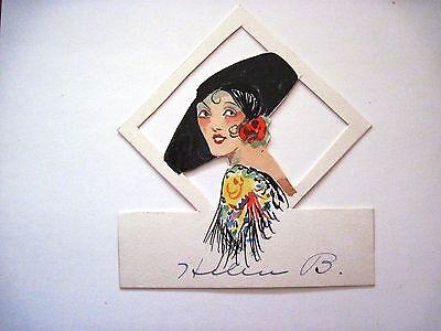 Vintage Art Déco Brücke Tempo Karte-W / Spanisch Damen mit / Groß Schwarz Hut