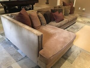 Large Sectional Couch with Throw Pillows
