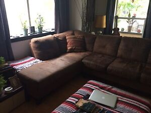 Brown microseude sectional for sale