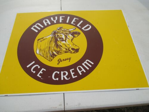 Vintage Mayfield Ice Cream Dairy Cow Farm 2 Sided  Metal Sign  25
