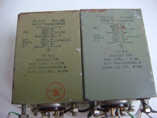 VINTAGE PAIR OF MIL-T-27 INPUT MC STEP TRANSFORMER
