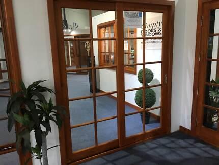 Sliding Door - 2100h x 2110w Black w/ Clear Glass *Factory 2nd ...
