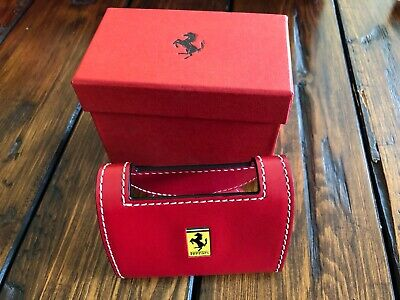 Genuine Ferrari Desk Business Card Holder In Red Leather Extremely Rare Italy