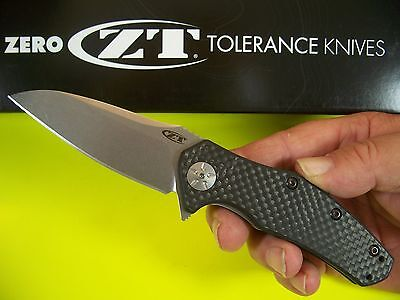 "ZERO TOLERANCE usa CARBON FIBER ZT 0770CF Spring Assist Folder ""S35VN"" KAI knife"