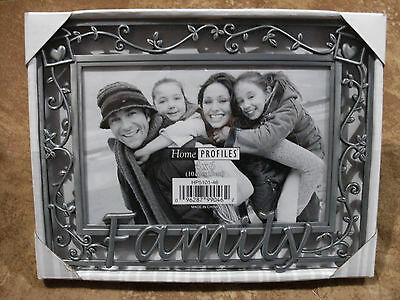 """Home Profiles """"Family"""" Metal Photo Frame by Malden 4""""x6"""" - New"""