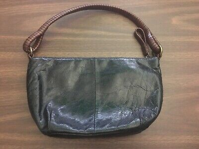 FOSSIL Black Brown Leather Wrapped Handle Strap SL 3679 Purse Bag Satchel Brown Leather Wrapped Handles