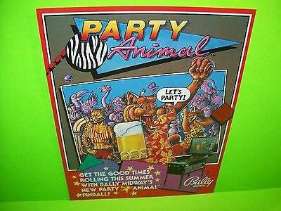 Bally PARTY ANIMAL 1987 Original Pinball Machine Flipper Game Promo Sales Flyer