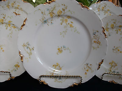 HAVILAND #9196 (c.1907+) LUNCH PLATE(s)- YELLOW/BLUE FLORAL- RARE! BEAUTY! GILT! Blue Floral Lunch Plate