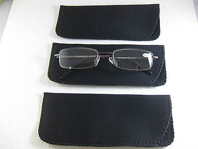 ~LOT of THREE~  All BLACK Neoprene Eyeglass Soft Reading Glass Cases (Neoprene Eyeglass Case)