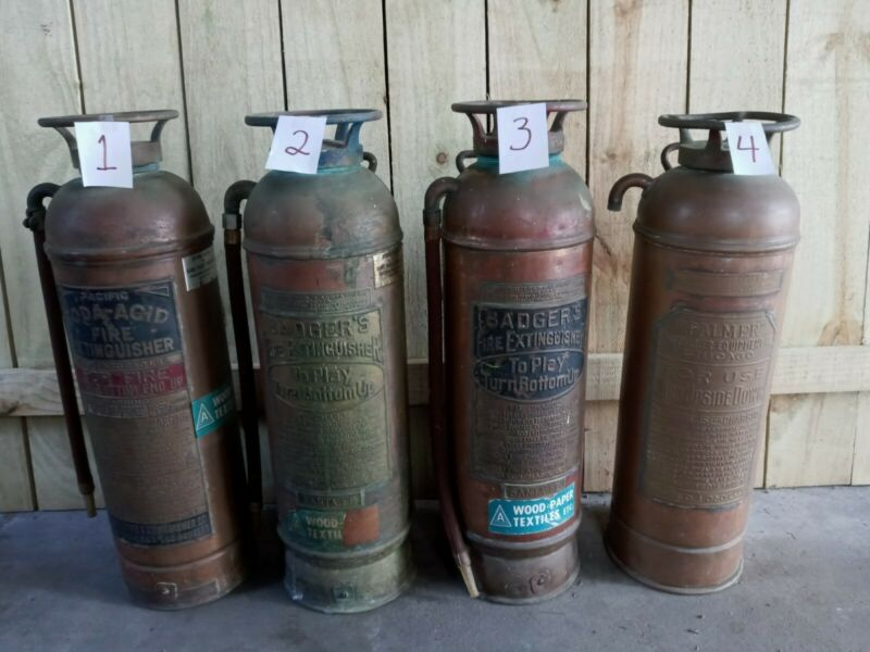 Vintage Badger, Pacific & Palmer Brass & Copper Fire Extinguishers - 24 in. tall