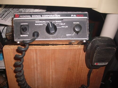 Federal Signal PA-300 Radio Rebroadcast Amp With Microphone . Free Shipping !