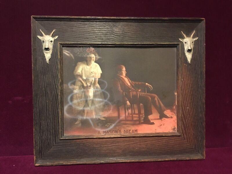 RARE MASONIC ART 1908 A MASON'S DREAM WOMAN ON GOAT
