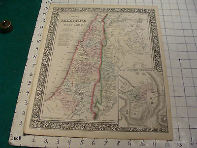 ORIGINAL Hand Colored 1864 Mitchell Map: 15 1/4 x 12 1/2 PALESTINE & HOLY LAND