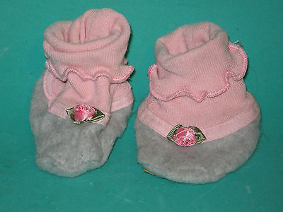 """PINK & GRAY BOOTIES FOR LARGE BABY DOLL or BEAR- 2"""" X 3 1/2"""""""