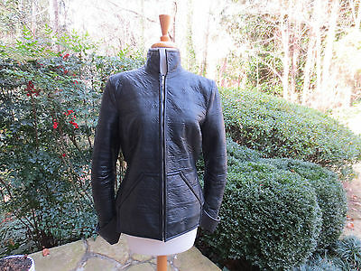 GARETH PUGH Techno Black Snake Leather Jacket, Fits Sz 6 TRIPLE MINT CONDITION
