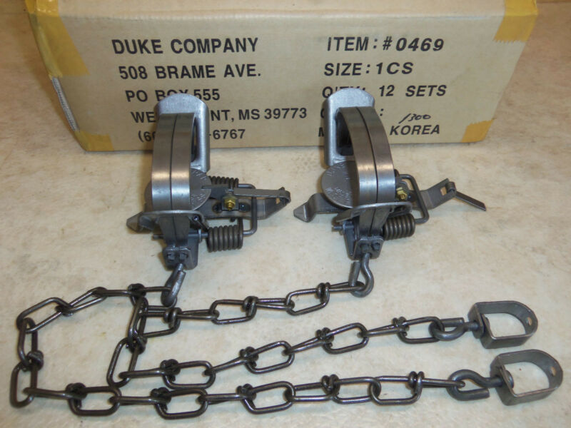 2 New Duke # 1 Coil Spring Traps 0469 Raccoon Mukrat Mink Nuisance Trapping
