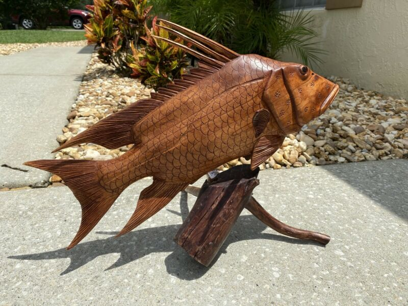 HOGFISH ON ROOT  HAND CARVED WOOD ART HOME DECOR FISH TIKI BAR SALTWATER
