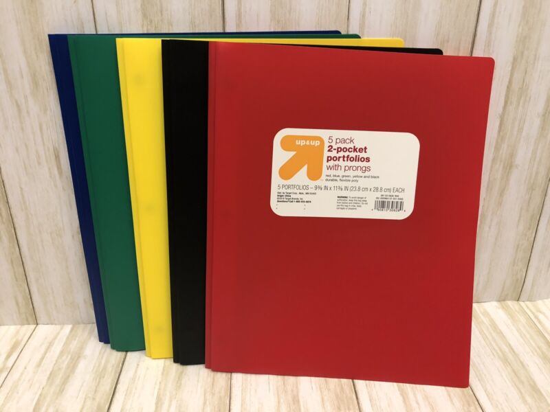 5 Pack Multicolor Plastic Two Pocket Folders with prongs, 2 Pockets and 3 prongs