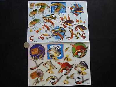 JOB LOT 6 High Gloss EMBOSSED Gilded FISHING Decoupage MEN'S NEW + FREE GIFTS