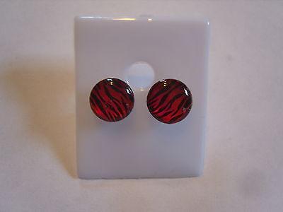 Ohrring rund rot schwarze Flammen Feuer aus Kunststoff ca: 1,0 cm 1196 (Flamme Ohrringe)