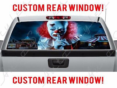 Rear Window Scary Clown Haunted Pickup Halloween Carnival IT Truck Perforated (Halloween Cartoons Political)