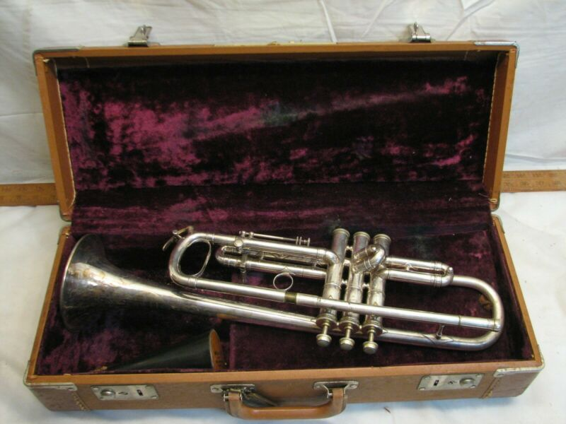 Antique Harry B Jay Columbia Silver Finish Trumpet Musical Instrument