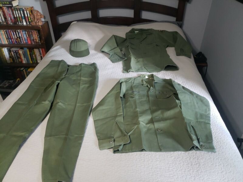 Vtg US Army MP Uniform Coffey name Patches Pants Shirts Hat Patches
